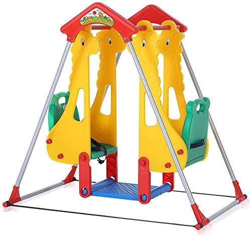 Kinderlaufgitter Babyschaukelstuhl Innen- und Außenzweisitzer Garten Wippe Spiel,Yellow