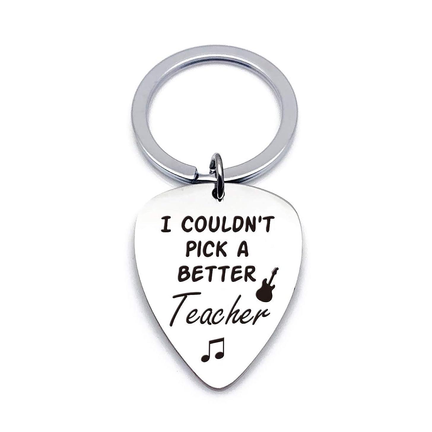 Best Guitar Pick Gifts - Teacher Appreciation Gift Stainless Steel Guitar Pick Keychain - I Couldn't Pick A Better Teacher - Perfect Music Gift Ideas for Teacher Musicians Men Women