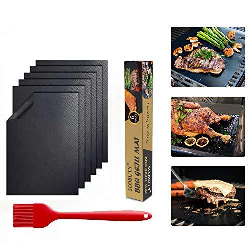 SCOBUTY Grillmatten,Grillmatten Set, Antihaft-Grillmatten,Am besten zum Grillen im Freien und zum Backen des Ofens geeignet, leicht zu reinigen und wiederverwendbar, Set von 6-40 cm x 33 cm