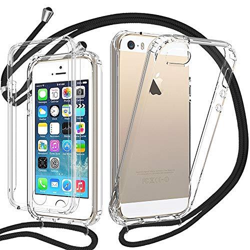 YuhooTech Funda con Cuerda para iPhone 5 / 5S / SE, Carcasa Transparente 360 Grados Delantera Trasera Case con Colgante Ajustable Collar Correa de Cuello Cadena Cordón, Doble Cara Silicona Cover