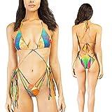 Bandeau Sexy para Mujer con Cordones Estampado de Cintura Baja 2PCS Bikini Set Tanga Acolchado Traje de baño,L