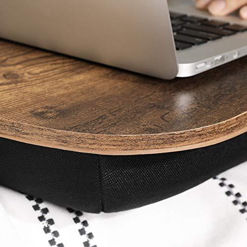 SONGMICS Laptopkissen, Laptoptisch, Laptopunterlage, für Bett, mit Tragegriff, Kissen, gepolsterte Unterlage, 40 x 32 x 8 cm (L x B x H), vintagebraun LLD109B01