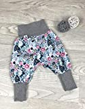 Pumphose Jersey haremshose Gr. 56-110, hose mädchen Blumen grau altrosa, Babyhose, Kinderhose