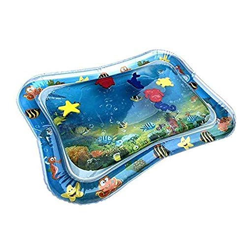 LQY Aufblasbare Wassermatte, Inflatable Game Play Mat, Krabbeln Trainingswassermatte, Für Perfect Sinnes Spielzeug Geschenk Neugeborene Jungen-Mädchen-Spaß Frühe Aktivität Zentren,Blau