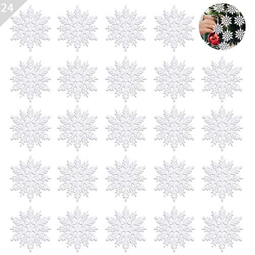 ASANMU Weihnachten Schneeflocken, 24 Stück Glitter Schneeflocken Deko Plastik Aufhängen Weihnachtsbaum Hängende Ornamente Schneeflocke Weihnachtsbaumschmuck Weihnachtsdeko Fensterdeko (Weiß, 7.5 cm)