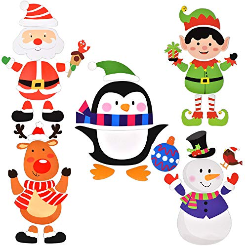 Christmas Refrigerator Magnets Appliance Decorations Magnetic Fridge Santa Snowman Reindeer Penguin Elf Winter Cutouts Holiday Decor for Kitchen Whiteboard Garage Door File Cabinet Metal Doors Locker