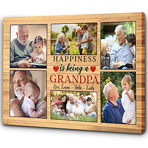 Grandpa Personalized Canvas| Happiness Is Being A Grandpa| Father's Day Gift for Grandpa| Grandpa & Grandkids Photo Collage| Papa Birthday, Christmas Gift| N1595 (14x11 inch)