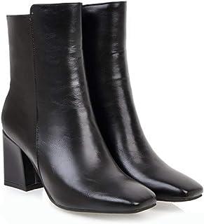 [ジーメイ・House] ショートブーツ スクエアトゥ 太いヒール 7cmヒール 内側ジップ レディース 赤/黒/白