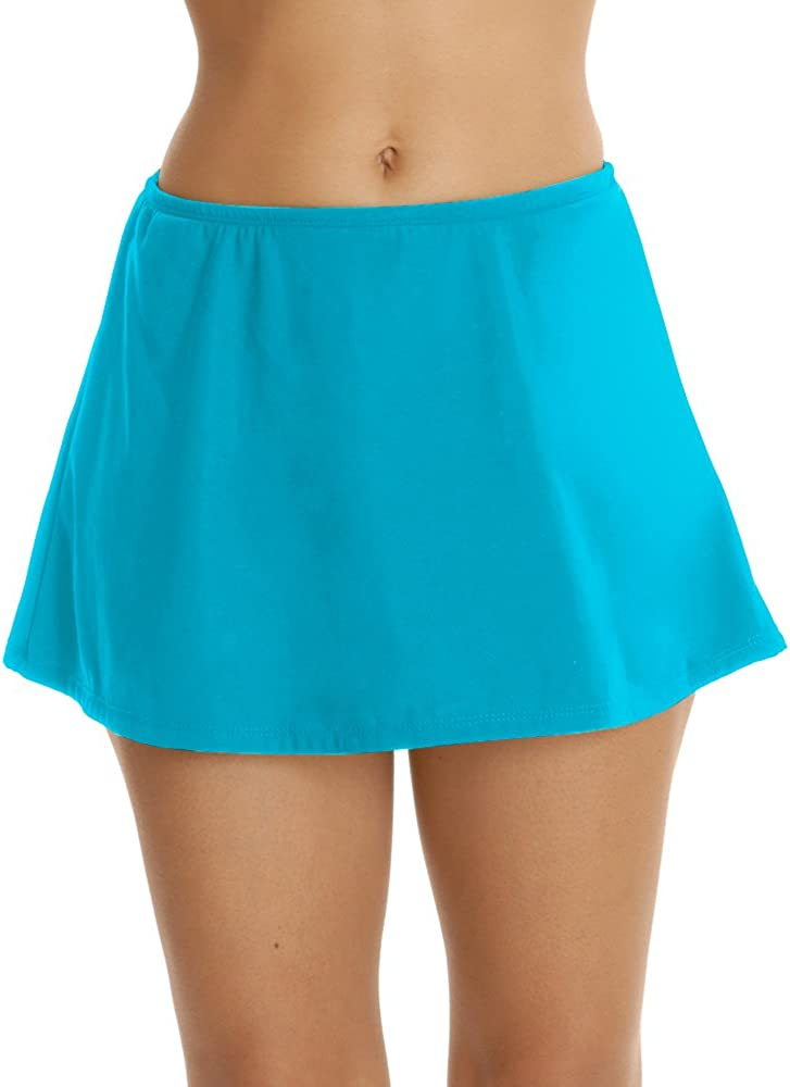 Topanga Women's Plus Solid Swim Skirt Caribbean Blue 26W
