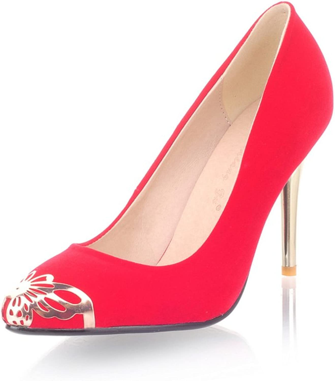 RHFDVGDS Spring and autumn fashion Lady shoes high heel pointy shoes Fine with light shoes sweet lady in high heels