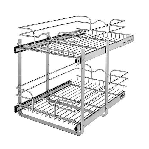 Rev-A-Shelf 5WB2-1522CR-1 15 x 22 Inch 2-Tier Wire Basket Pull Out Shelf Storage for Kitchen Base Cabinet Organization, Chrome