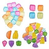 Cubo de Hielo Cuadrado Grado Alimenticio Molde de Cubo de Hielo de Plástico Cubitos de Hielo de Diseño Creativo Cubitos de Hielo de Frutas para Cerveza Cócteles Cola Jugo de Naranja—Color Aleatorio
