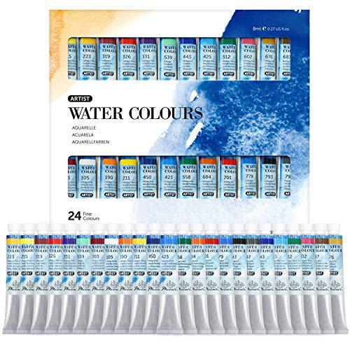 Phoenix Artist Grade Watercolor Paint Set 24 Colors x 8ml - Non-Toxic Watercolor Tubes for Professionals Artists