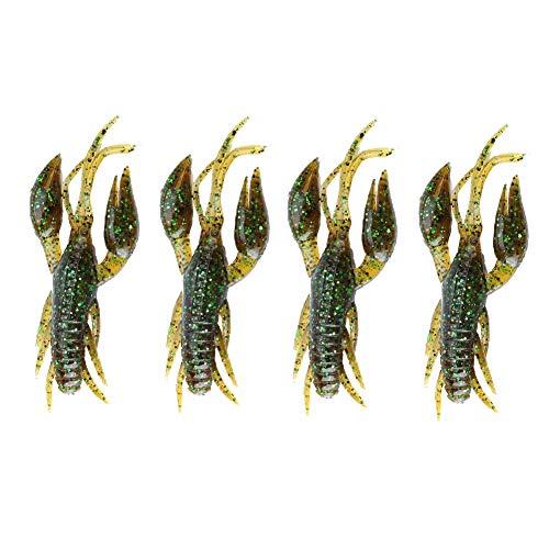 Crayfish Angeln Gummifische Flusskrebs Fischen Köder, 4pcs Silikon weicher Fischen-Langusten Köder Kunstköden Köder für Karpfen Bass Fischen Frischwasser Salzwasser dunkelgrünes(1#-Dunkelgrün)