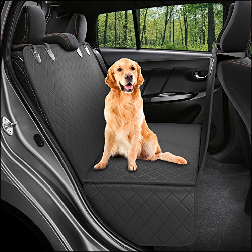 Dog Back Seat Cover Protector Waterproof Scratchproof Nonslip Hammock for Dogs Backseat Protection Against Dirt and Pet Fur Durable Pets Seat Covers for Trucks & SUVs (XL Black)