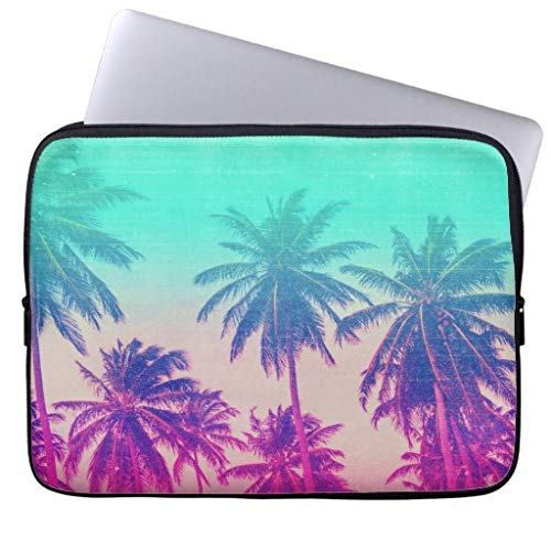 qidushop Girly Cute Pink Turquoise Ombre Tropical Palm Tree 11.6 12 Inch Laptop Sleeve Cute Notebook Computer Case for Apple MacBook Acer