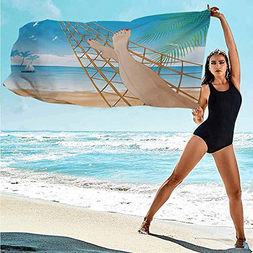 Zwembad Handdoek Strandbenen Van De Sexy Dame Leggen In De Hangmat Naar De Oceaan In Hawaiiaanse Tropische Luxe Crème Blauw Zwembad Handdoek Zacht Bad Handdoeken Reizen/Fitness/Zwemmen Badkamer Ab