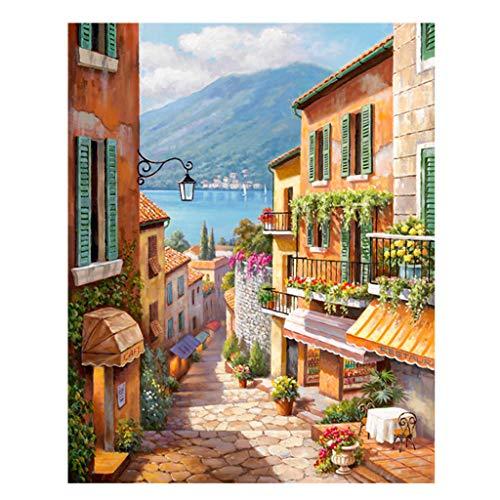 Preisvergleich Produktbild S-TROUBLE Malen nach Zahlen für Erwachsene und Kinder DIY Ölgemälde Geschenk-Kits Vorgedruckte Leinwand Kunst Home Decoration -Street View Town