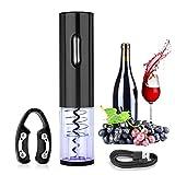 DASIAUTOEM - Sacacorchos eléctrico para botellas de vino, sacacorchos profesional con cortador de cápsulas y carga USB, abra botellas vino, champán, herramientas para los amantes del vino