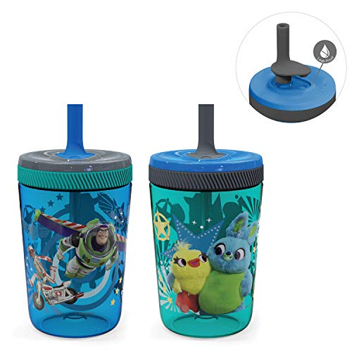 Zak Designs Kelso 15 oz Tumbler Set (Toy Story 4 - Woody & Buzz 2pc Set) Non-BPA Leak-Proof Screw-On Lid with Straw Made of Durable Plastic and Silicone, Perfect Baby Cup Bundle for Kids
