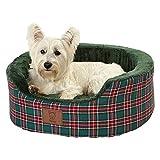 Bunty Heritage Tartan Soft Fur Fleece Dog Bed Washable Pet Basket Mat Cushion - Green - Medium
