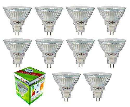 Trango LED Leuchtmittel mit MR16 Fassung XTGMR16030 zum Austausch von herkömmlichen Halogen Leuchtmittel MR16 I GU5.3 I G4 12 Volt 3000K warmweiß Glühlampe, Reflektor Lampe, LED Birnen (10er Pack)