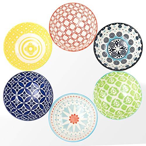 DeeCoo 6 Pack 24 oz Premium Porcelain Bowls Set, Cereal Bowls, Ceramic Bowls for Soup, Salad, Pasta, Rice, Large Capacity Ramen Bowls, Heat and Cold Resistant, Microwave and Dishwasher Safe Bowls