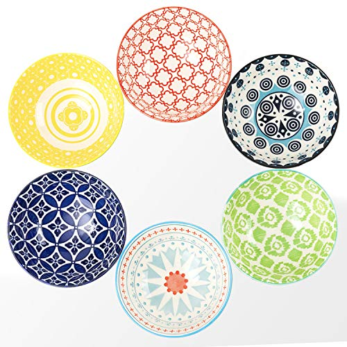 DeeCoo 6 Pack 24 oz Premium Porcelain Bowls Set, Cereal Bowls, Ceramic Bowls for Soup, Salad, Pasta, Rice, Large Capacity Ramen Bowls, Heat and Cold Resistant, Microwave and Dishwasher Safe Bowls