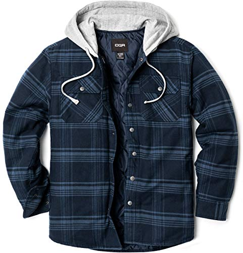 CQR Männer Kapuzen Gesteppte Gefüttert Flanell-Hemd Jacke, Lange Hülse Plaid Button Up Jackets, Hok720 1pack - Deep Navy & Blue, M