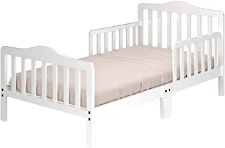 Sponsored Ad - Costzon Toddler Bed, Classic Design Wood Bed Frame w/Two Side Safety Guardrails & Wooden Slat Support for K...