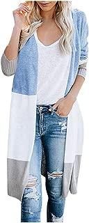 LEKODE Women's Cardigan Fashion Patchwork Striped Long Sleeve Sweater