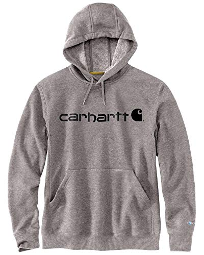 Carhartt Men's Size Force Delmont Signature Graphic Hooded Sweatshirt, Asphalt Heather, 2X-Large/Tall
