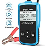 TT TOPDON Car Battery Tester AB101 12V Car Battery Load Tester on Cranking Charging Systems, 100-2000 CCA Alternator Analyzer Automotive for Cars/SUVs/Light Trucks with Flooded AGM Gel Types