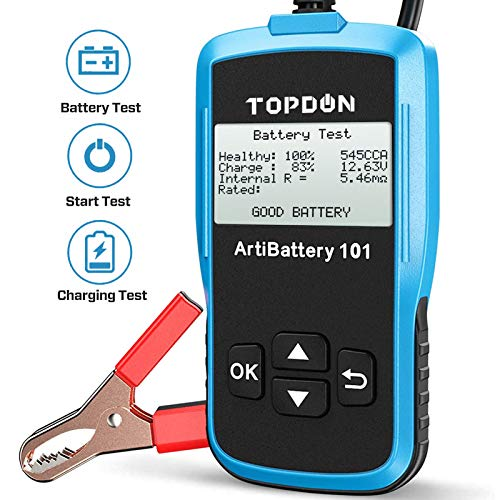 TT TOPDON Car Battery Tester AB101 12V Car Battery Load Tester on Cranking Charging Systems,...