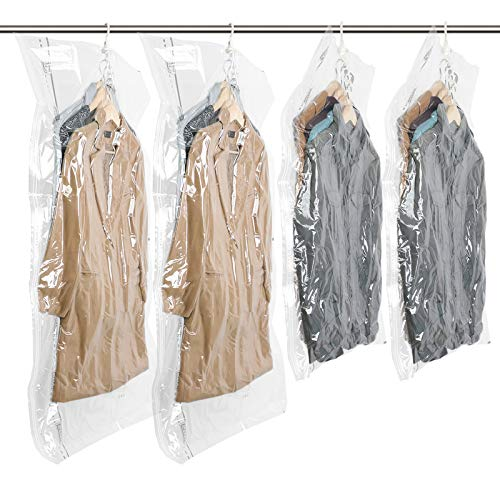 Hanging Vacuum Space Saver Bags for Clothes, Set of 4 (2 Long 53'x27.6', 2 Short 41.3'x27.6'),Vacuum Seal Storage Bag Clear Bags for Suits, Dress or Jackets, Closet Organizer