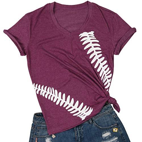 Baseball Graphic Shirt Women Funny Print Baseball Mom V-Neck...