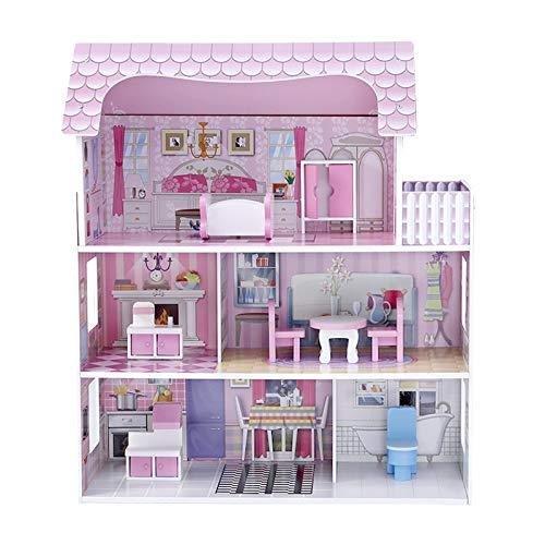 LIYANG Puppenhausspielzeug Prinzessin Haus DIY Puppenhaus Haus Haus Modell Große Holzpuppenhaus mit Möbeln 3D Puzzle für Kinder (Farbe : Pink, Size : 60×23.5×70 cm)