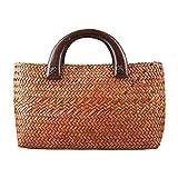 ACMEDE Strandtasche Stroh geflochtene Handtasche Sommer Tasche Einkaufskorb mit Griffen für Damen