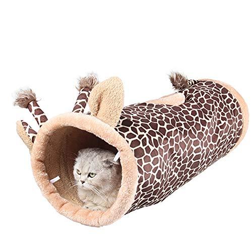 Legendog kat tunnel inklapbare dinosaurus giraffe zwart ontwerp kat bed kat speelgoed voor kittens katten huisdieren, Koffie & kaki