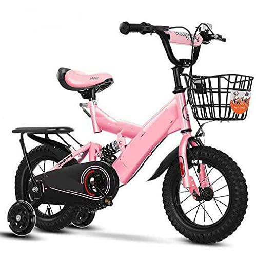 HUAQINEI Bicicleta de Pedales para niños, Rueda Intermitente más Asiento Trasero, niña, niña, Bicicleta Escolar, niña, 14 Pulgadas, Bicicleta de Dos Ruedas, Coche de Princesa, Rosa, 12 Pulgadas