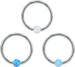 ZeSen Jewelry 3 Anelli di Naso PCS Opal Captive Bead 316L del Naso dell'Acciaio Inossidabile del Cerchio dell'anello Helix...