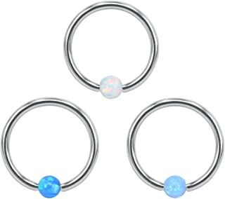3 PCS Opal Captive Bead Nose Rings 316L Stainless Steel Nose Hoop Ring Helix Cartilage Ear Hoop