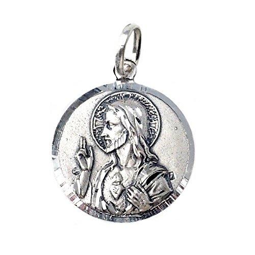 Medalla plata Ley 925m maciza Escapulario 21mm. Corazón de Jesús Virgen del Carmen cerco brillo