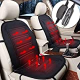 FiNeWaY 12V Heated Car Van Seat Cover Padded Thermal Cushion Universal Fit With 2 Heat Temperature Settings -...