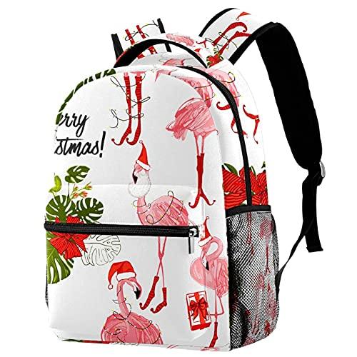 Mochila ligera para la escuela, mochila para el ordenador portátil, para adultos y niños, mochila casual, dibujos animados, Navidad, Papá Noel, regalo de reno, rojo, Color 8, talla única