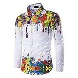 LSDJGDDE Splash - Camisas de manga larga para hombre con estampado de pintura entallada (talla M-3XL)