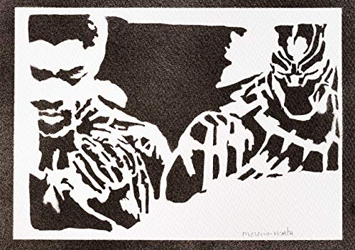 Poster Black Panther Los Vengadores Grafiti Hecho a Mano - Handmade Street Art - Artwork