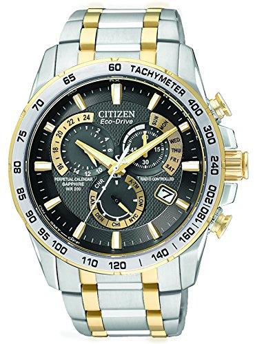 Citizen AT4004-52E - Reloj analógico de Cuarzo para Hombre, Correa de Acero Inoxidable Multicolor