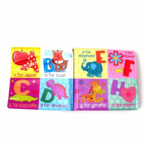 Set of 4 Baby Bath Books   First Words ABC Letters & Numbers   Plastic Coated & Padded   Floating Fun Educational Learning Toys for Toddlers & Kids