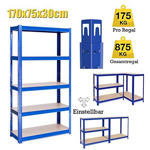 Lagerregal Kellerregal Werkstattregal Schwerlastregal Einstellbar Regal bis 875 kg, 170x75x30cm Metall-Regal Regalsystem für Garage, Werkstatt, Speisekammer - Blau